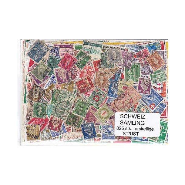 Schweiz Samling St/ust. 825 forskellige