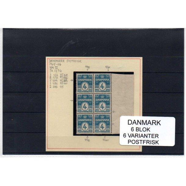 Danmark - 6 Blok med 6 Varianter - Postfrisk.