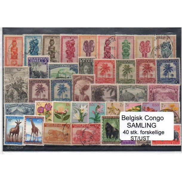 Belgisk Congo Samling - 40 Stk. Stenplet/Ustemplet.