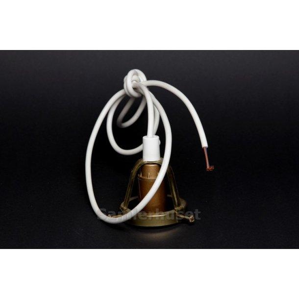 Lampeophæng Nyt - Messing Åben - Lille Fatning - Hvid Ledning 1,4 m. - Højde 5,7 cm - Diameter 6,1 cm.